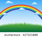 beautiful rainbow  sky and...   Shutterstock .eps vector #427321888