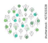 linear geometric leaves of... | Shutterstock .eps vector #427323328