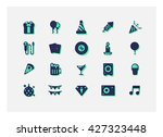 party new year icon set vector. | Shutterstock .eps vector #427323448