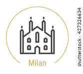 milan  italy  outline icon with ... | Shutterstock .eps vector #427326634