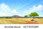 a road across the serengeti  | Shutterstock .eps vector #427355389