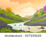 a streaming river flowing... | Shutterstock .eps vector #427355620
