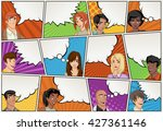 comic book page with people...   Shutterstock .eps vector #427361146