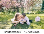 hapyy loving couple under the...   Shutterstock . vector #427369336