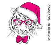 tiger in christmas hat and... | Shutterstock .eps vector #427390930