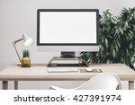 3d render of workspace mockup | Shutterstock . vector #427391974