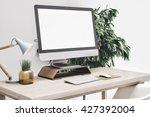 3d render of workspace mockup | Shutterstock . vector #427392004