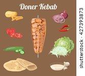 doner kebab ingredients. meat ... | Shutterstock .eps vector #427393873