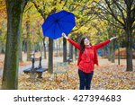 beautiful young woman in paris...   Shutterstock . vector #427394683