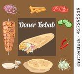 doner kebab. meat  vegetables ...   Shutterstock .eps vector #427395319