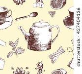 tea time vector hand drawn... | Shutterstock .eps vector #427404136