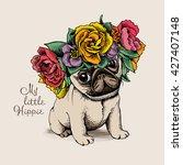 Stock vector hippie pug puppy in a floral head wreath vector illustration 427407148