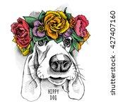 basset hound hippie portrait in ...