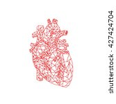 human heart. polygonal graphics.... | Shutterstock .eps vector #427424704