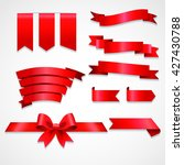 collection of red ribbons  | Shutterstock .eps vector #427430788