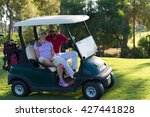 couple in buggy cart on golf... | Shutterstock . vector #427441828