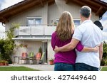 rear view of couple standing in ... | Shutterstock . vector #427449640