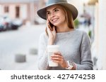 modern young woman in a big city | Shutterstock . vector #427474258