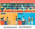 people in supermarket grocery... | Shutterstock .eps vector #427495870