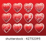 set of 12 valentine's day hearts | Shutterstock .eps vector #42752395