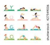 yoga kids and gymnastics set....   Shutterstock .eps vector #427549036