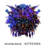 portrait of  indian shaman head ... | Shutterstock . vector #427551004