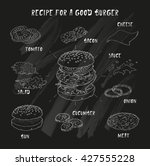recipe for a good burger.... | Shutterstock .eps vector #427555228