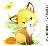 cute fox. watercolor forest... | Shutterstock . vector #427560850