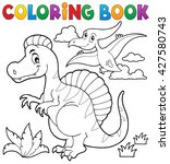 coloring book dinosaur theme 2  ... | Shutterstock .eps vector #427580743
