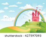 fairytale landscape  the road... | Shutterstock .eps vector #427597093