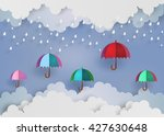 origami made colorful umbrella... | Shutterstock .eps vector #427630648