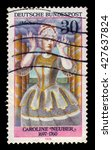 Small photo of GERMANY - CIRCA 1976: a stamp printed in Germany shows german actress and theatre director Caroline Neuber as Medea, circa 1976