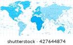detailed world map blue colors...   Shutterstock .eps vector #427644874