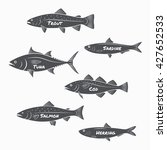 Stock vector set of fish silhouettes on white background trout sardine tuna cod salmon and herring labels 427652533