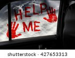red handprints and the... | Shutterstock . vector #427653313