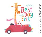 cute giraffe is going by car.... | Shutterstock .eps vector #427665658