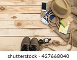 accessories for travel.... | Shutterstock . vector #427668040