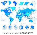 detailed vector world map of... | Shutterstock .eps vector #427685020