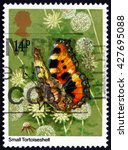 Small photo of CROATIA ZAGREB, 18 OCTOBER 2015: a stamp printed in the Great Britain shows Small Tortoiseshell, Aglais Urticae, Eurasian Butterfly, circa 1981