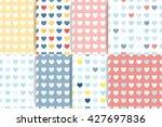 set of heart seamless patterns. ...