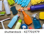 house cleaning product on wood... | Shutterstock . vector #427701979