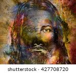 jesus christ painting with... | Shutterstock . vector #427708720