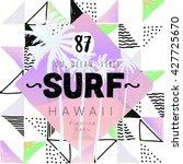 vintage watercolor summer surf... | Shutterstock .eps vector #427725670
