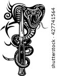 snake tattoo cobra and dagger | Shutterstock .eps vector #427741564