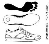 Black Outlined Sneakers Shoe  ...