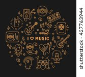 i love music   inspiring quote  ... | Shutterstock .eps vector #427763944