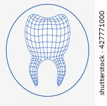 Stylized Tooth With 3d Grid It...