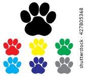 paw print icon set