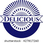 delicious emblem with jean... | Shutterstock .eps vector #427817260