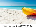 yellow and orange canoe on the... | Shutterstock . vector #427822954